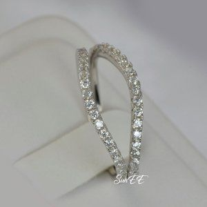 2pc Real 925 Curve Wedding Band Ring